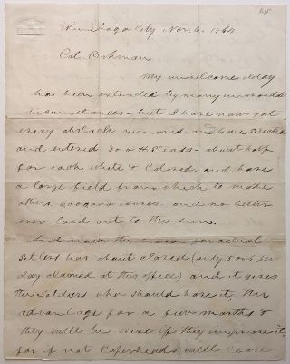 War-date Autographed Letter Signed. CIVIL WAR: MINNESOTA & THE HOMESTEAD ACT.