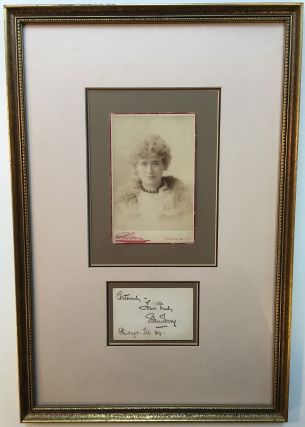 Inscribed Card framed with a vintage Cabinet Photograph. Ellen TERRY, 1847 - 1928