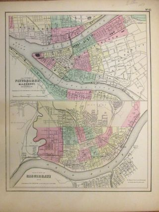 The Cities of Pittsburgh and Allegheny with parts of Adjacent Boroughs, Pennsylvania The City of Cincinnati Ohio. J. H. COLTON.