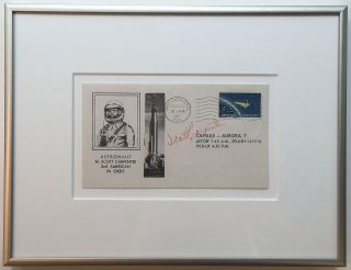 Framed Signed Envelope commemorating an early NASA mission. Scott CARPENTER, 1925 - 2013