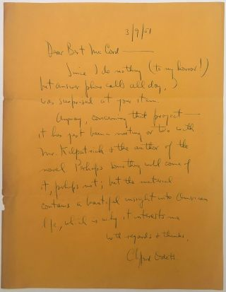 Fine-content Autographed Letter Signed. Clifford ODETS, 1906 - 1958