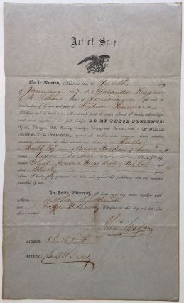 Partly Printed Document Signed. SLAVERY IN LOUISIANA - DR. HALLAR NUTT.