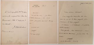 Grouping of three autographed items. FRENCH LITERARY FIGURES