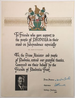 Rare Ornately Printed Poster signed by the Prime Minister. RHODESIA AND APARTHEID