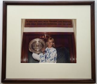Framed Photograph Inscribed to Czech figure skater Aja Zanova. Martina NAVRATILOVA, 1956