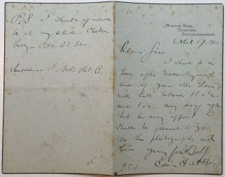 Autographed Letter Signed plus a handwritten card. Edward Austin ABBEY, 1852 - 1911.