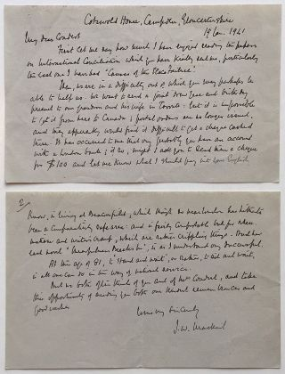 Fine Context War-Date Autographed Letter Signed. John William MACKAIL, 1859 - 1945