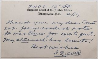 Autographed Note Signed on a Supreme Court postal card. James Clark MCREYNOLDS, 1862 - 1946.