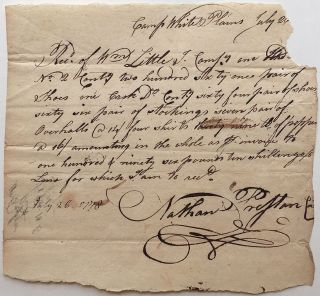 Manuscript Document Signed. AMERICAN REVOLUTION.