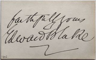 Signed Card. Edward BLAKE, 1833 - 1912