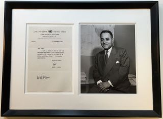 "Framed Typed Letter Signed ""Ralph"" on United Nations letterhead. Ralph BUNCHE, 1903 - 1971"
