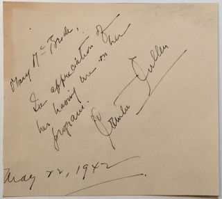 Autographed Note Signed to radio host Mary McBride. Countee CULLEN, 1903 - 1946