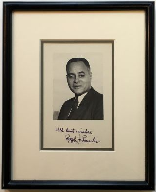 Framed Signed Photograph. Ralph BUNCHE, 1903 - 1971.