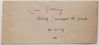 Signed Quotation. Louis GOLDING, 1895 - 1958