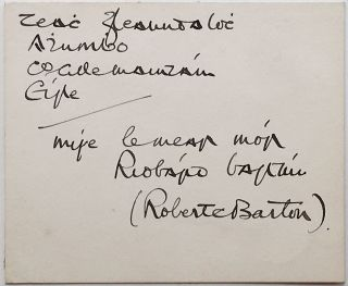 Signed Card in Gaelic. Robert BARTON, 1881 - 1975