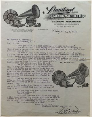 "Typed Letter Signed on scarce ""Standard Talking Machine Co."" letterhead. 1905 PHONOGRAPH"