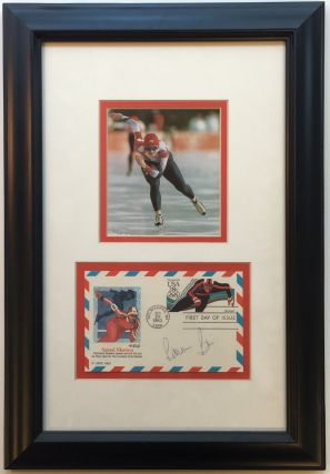 Framed Signed Envelope commemorating Speed Skating. Bonnie BLAIR, 1964