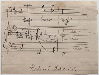 Autographed Musical Quotation Signed. Richard ALDRICH, 1863 - 1937