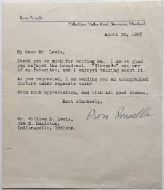 Typed Letter Signed on personal stationery. Rosa PONSELLE, 1897 - 1981
