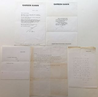 Grouping of four Typed Letters Signed and one Autograph Letter Signed. Garson KANIN, 1912 - 1999