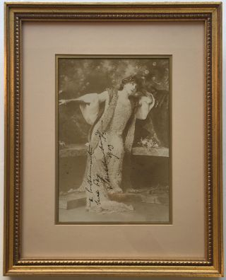 Framed Inscribed Photograph. Sarah BERNHARDT, 1844 - 1923