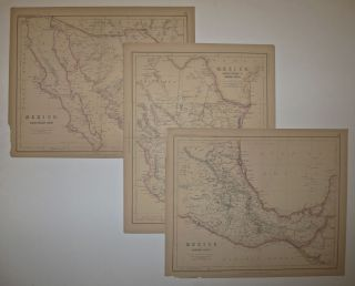 Mexico, North-Western States; Mexico. North-Eastern States & Central States; Mexico. Southern States (3 Maps). H. D. ROGERS, A. K. JOHNSTON.