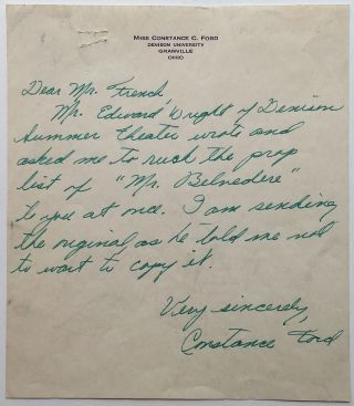 Autographed Letter Signed. Constance FORD, 1923 - 1993
