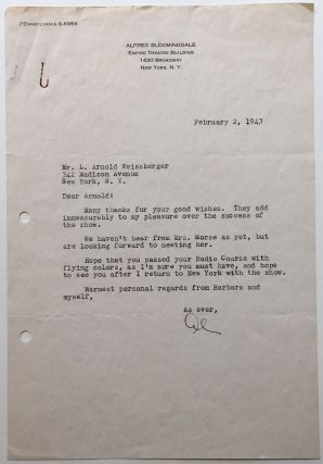 "Interesting Typed Letter Signed ""Al"" Alfred S. BLOOMINGDALE, 1916 - 1982."