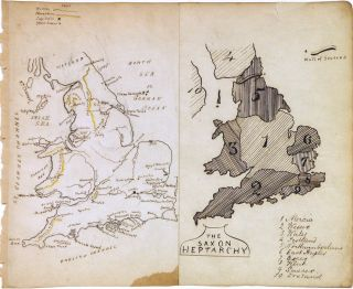 The Saxon Heptarchy. England and Wales. ANONYMOUS, Manuscript map.