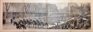 The Centennial Military Parade - West Point Cadets Passing the Reviewing Stand in Madison Square. HARPER'S WEEKLY.
