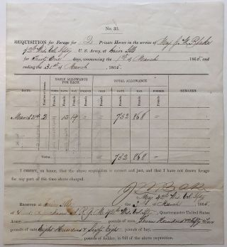 Party-printed war-date document signed. CIVIL WAR