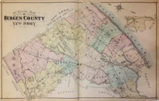 Outline Map of Bergen County. A. H. WALKER