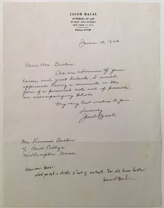 Nasty Autographed Note Signed to well-known attorney and autograph collector Jacob Bacal. Leonard BASKIN, 1922 - 2000.