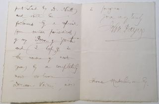 "Autographed Letter Signed just before ""Hamid"" was released. John PAYNE, 1842 - 1916"