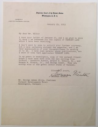 Typed Letter Signed on Supreme Court letterhead. Sherman MINTON, 1890 - 1965