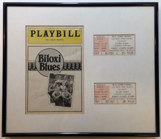 "Framed Signed Playbill with two ticket stubs for ""Biloxi Blues"" Neil SIMON, 1927"