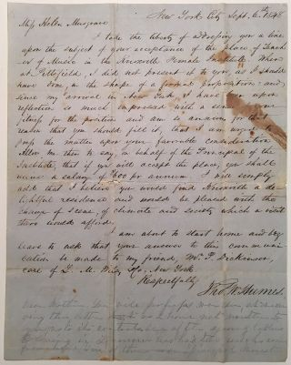 Autographed Letter Signed to a female music teacher. Thomas W. HUMES, 1815 - 1892