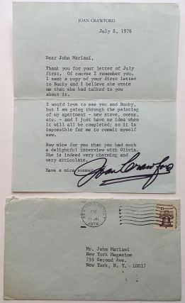 Typed Letter Signed on personal stationery. Joan CRAWFORD, 1904 - 1977.