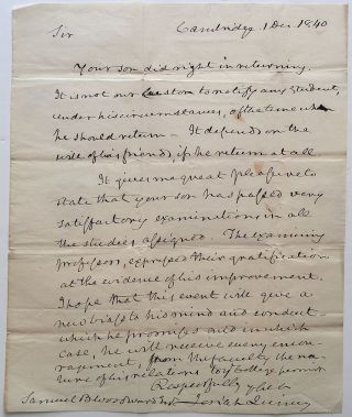 Autographed Letter Signed as President of Harvard University. Josiah QUINCY, 1772 - 1864.