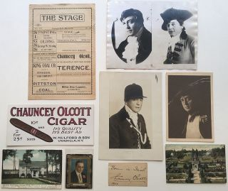 Small collection of memorabilia. Chauncey OLCOTT, 1858 - 1932