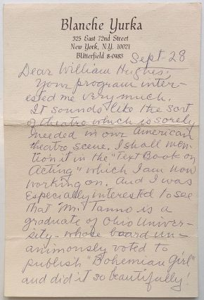 Autographed Letter Signed to a theatre historian. Blanche YURKA, 1887 - 1974