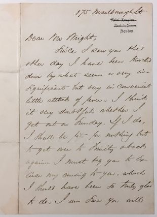 Autographed Letter Signed about feel sick. Phillips BROOKS, 1835 - 1893.