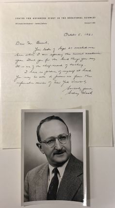 Autographed Letter Signed to a former student. Sidney HOOK, 1902 - 1989