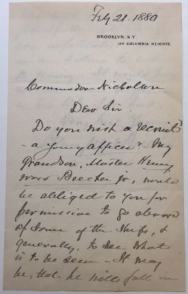 Autographed Letter Signed twice. Henry Ward BEECHER, 1813 - 1889