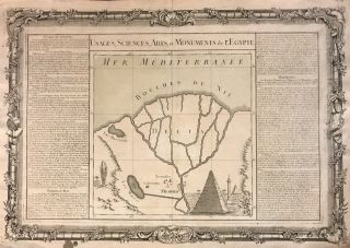 Usages, Sciences, Arts, et Monuments de l'Egypte; Unusual 1761 map of the Nile Delta with the...