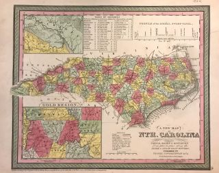 A New Map of Nth. Carolina with its Canals, Roads & Distances from place to place, along the Stage & Steam Boat Routes. Samuel Augustus Sr MITCHELL.