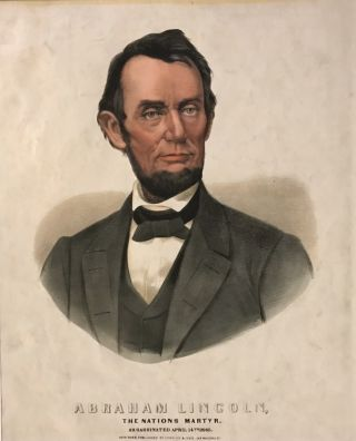 Abraham Lincoln, The Nations Martyr, Assassinated April 14th 1865. CURRIER, IVES.