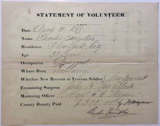 "Partly printed Document Signed ""Charles Freuter"" CIVIL WAR."