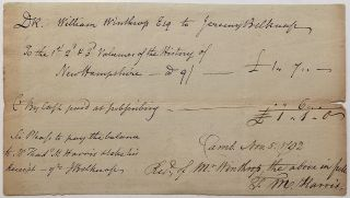 Historically important Autographed Document Signed twice. Jeremy BELKNAP, 1744 - 1798