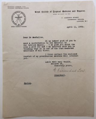 Typed Letter Signed to acclaimed pathologist Dr. William G. MacCallum. George Carmichael LOW,...